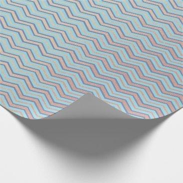 McTiffany Tiffany Aqua Stripes Chevron Lines Blush Tiffany Aqua Navy Blue Wrapping Paper