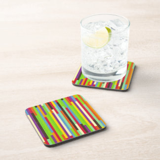 Stripes colorful abstract retro pattern background drink coasters