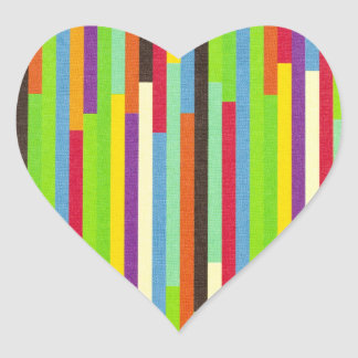 Stripes colorful abstract retro pattern background heart sticker