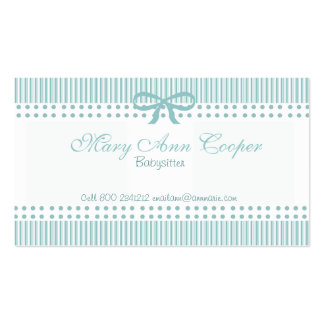 Stripes Cute Babysitter Delicate Blue Business Card