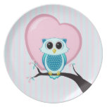 Stripes Cute Owl and Heart Melamine Plate