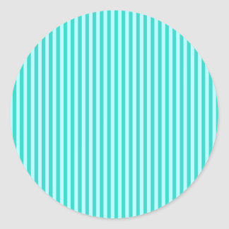 Stripes - Cyan - Celeste and Turquoise Classic Round Sticker