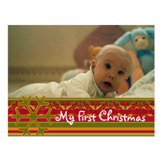 Stripes Damask My First Christmas Photo Postcard