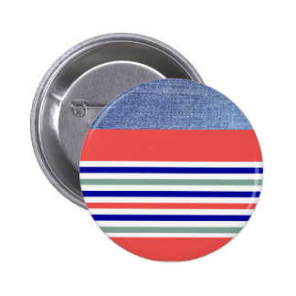 Stripes - Denim, Coral and Blue Button