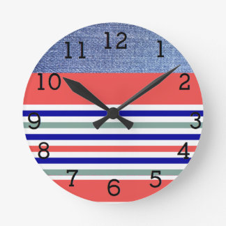 Stripes - Denim, Coral and Blue Round Clock