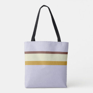 Stripes design natural brown green ochre on lilac tote bag