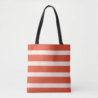 Stripes design red fury divine pink tote bag