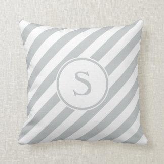 Stripes diagonal nautical monogram pale gray white throw pillow