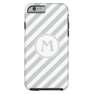 Stripes diagonal nautical monogram pale gray white tough iPhone 6 case
