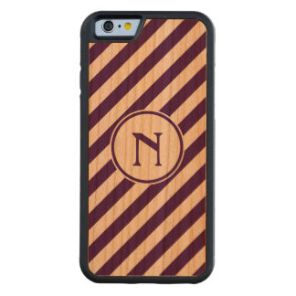Stripes diagonal nautical monogram purple cherry carved® cherry iPhone 6 bumper case