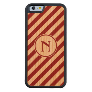 Stripes diagonal nautical monogram red cherry carved® cherry iPhone 6 bumper case