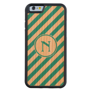 Stripes diagonal nautical monogram teal cherry carved® cherry iPhone 6 bumper case