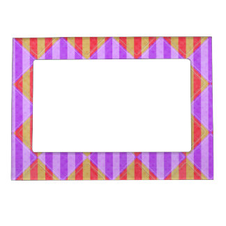Stripes, Diamonds, Spotted Pattern Magnetic Picture Frame