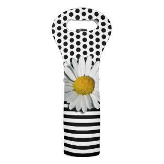 Stripes & Dots Pattern Mix & Marguerite Wine Bag