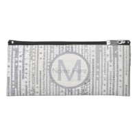 Stripes Dots Silver White Back To School Bling Pencil Case