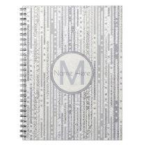 Stripes Dots Silver White Elegant Back To School Notebook