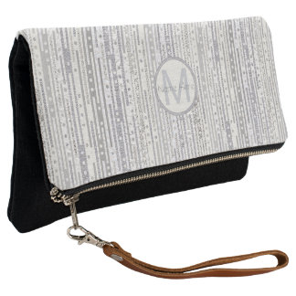 Stripes Dots Silver White Elegant Monogrammed Clutch