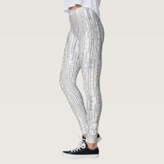 Stripes Dots Silver White Optional Monogram Glam Leggings