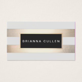 Stripes FAUX Gold Foil and Black Salon Appointment Business Card