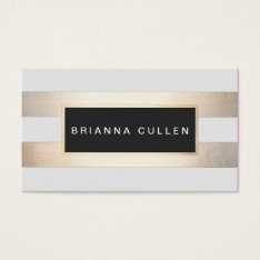 Stripes FAUX Gold Foil and Black Salon Appointment Business Card at Zazzle