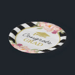 "Stripes Floral Gold Congrats Grad Graduation Party Paper Plate<br><div class=""desc"">================= ABOUT THIS DESIGN ================= 