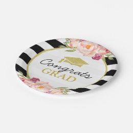 Stripes Floral Gold Congrats Grad Graduation Party Paper Plate  sc 1 st  Zazzle & Black And White Plates | Zazzle