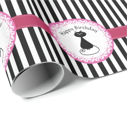 Stripes funny whimsical black cat birthday wrapping paper