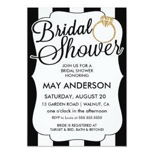 Stripes Gold Glitter Ring Bridal Shower Invitation