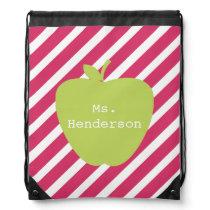 Stripes & Green Apple Teacher Drawstring Backpack
