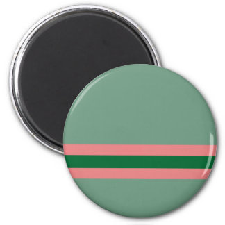 Stripes Green with Pink 2 Inch Round Magnet
