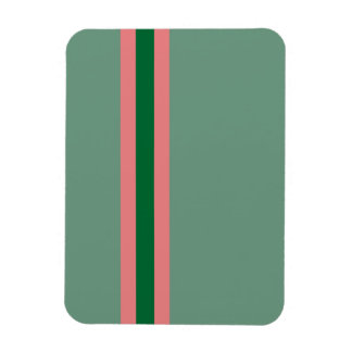 Stripes Green with Pink Rectangular Photo Magnet