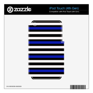 Stripes Horizontal Blue Black White Decals For iPod Touch 4G