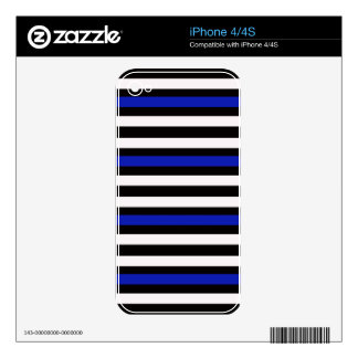 Stripes Horizontal Blue Black White Skin For The iPhone 4S