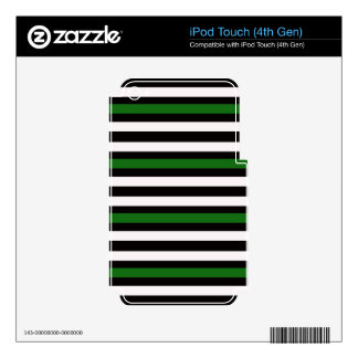 Stripes Horizontal Green Black White Decals For iPod Touch 4G