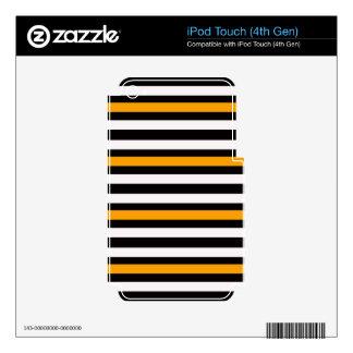Stripes Horizontal Orange Black White Decal For iPod Touch 4G