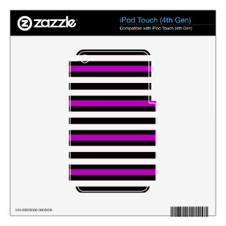 Stripes Horizontal Purple Black White Decal For iPod Touch 4G