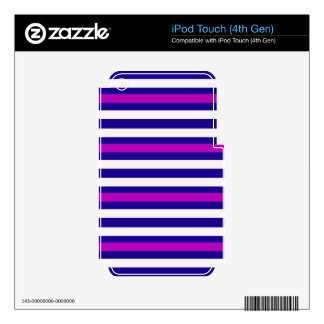 Stripes Horizontal Purple Blue White Skins For iPod Touch 4G
