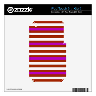 Stripes Horizontal Purple Red White iPod Touch 4G Decals