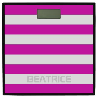 Stripes Horizontal with Name Pink on any Color