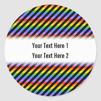 Stripes in Black and Rainbow Colors. Classic Round Sticker