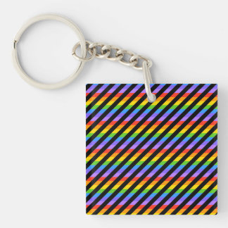 Stripes in Black and Rainbow Colors. Acrylic Keychain