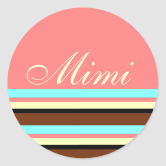 Stripes in brown, cream blue classic round sticker