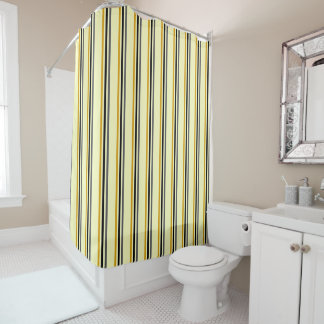 stripes in gold grey yellow shower curtain