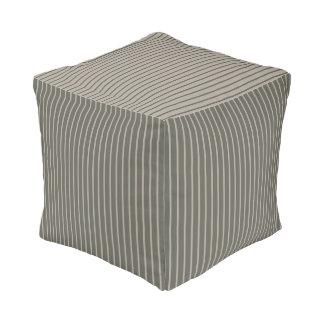 Stripes in Gray Pouf