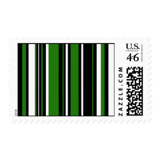 Stripes in Green Black and White Stamp