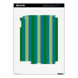 Stripes in Greens on iPad 3 Skin