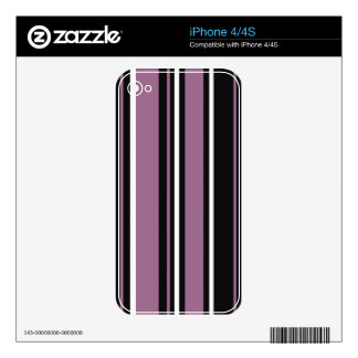 Stripes in Lavender Purple with Black & White Decal For The iPhone 4S