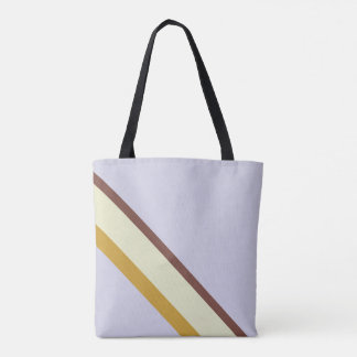 Stripes in natural colors on pale blue lilac tote bag