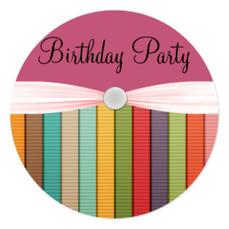 Stripes In Rainbow Of Colors Girlie Birthday Party Card