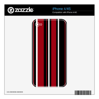 Stripes in Red Black & White iPhone 4S Decal